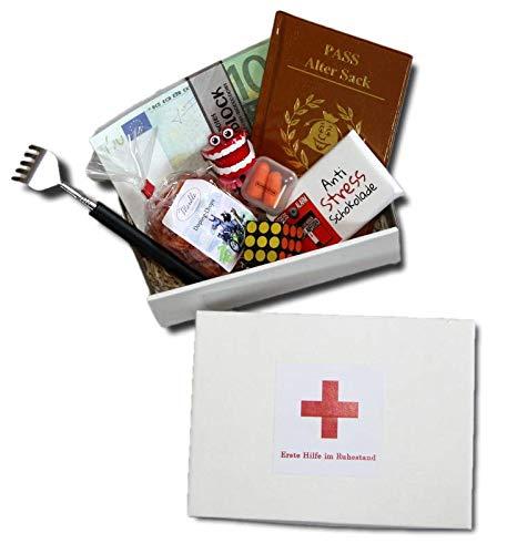 Erste Hilfe im Ruhestand Geschenkbox | Geschenke Rente Mann | Ruhestand Witzige Geschenk Männer | Pensionierung Geschenke Männer | Abschiedsgeschenk Ruhestand Kollege | Geschenke Box Ruhestand
