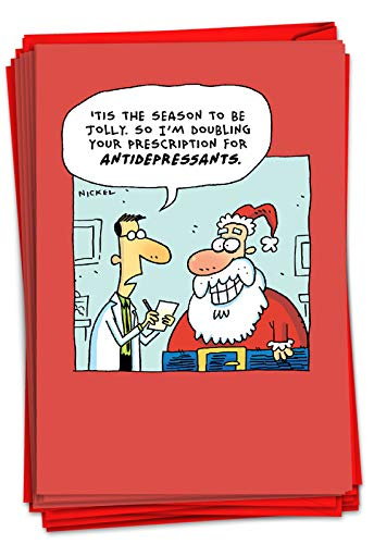 NobleWorks - 12 Cartoon Merry Christmas Cards Funny - Adult Happy Holiday Greetings, Boxed Notecards Bulk (1 Design, 12 Cards) - Jolly Santa C3406XSG-B12x1