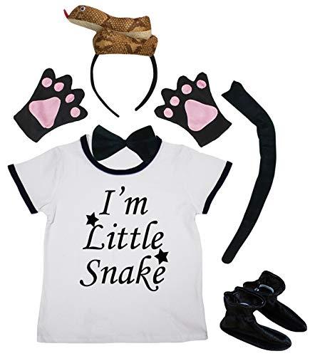 Petitebelle Little Snake Shirt 3D Brown Snake Headband Shoes 6pc Disfraz 1-4Y (marrn, 1-2year)