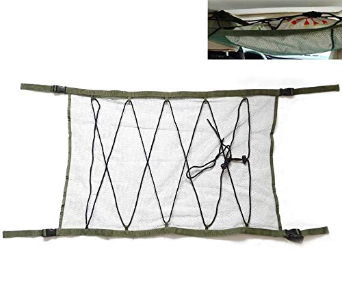 ZATOOTO SUV Ceiling Cargo Net Pocket - Car Roof Long Trip Storage Bag Tent Putting Quilt Children's Toy Towel Sundries Interior Accessories(ArmyGreen)