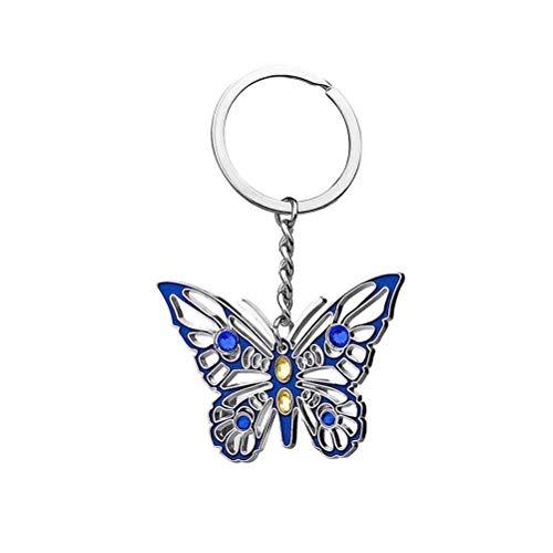 Aoneky Llavero Mariposa Brillante Azul Metal - Llavero