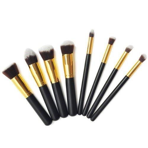 Pennello Per Fondotinta Set Di Spazzole Pennello Blush Ombra 8pcs/negro y oro
