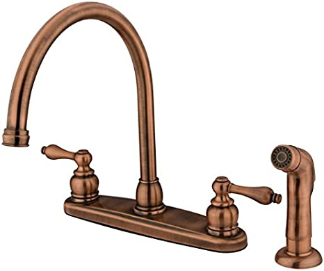 KINGSTON Brass KBS756SP Kitchen Faucet White Sprayer with Hose Antique Copper