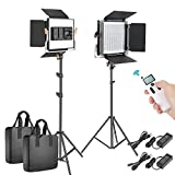 Neewer 2 Paquetes Avanzado 2,4G 480 LED Video Luz Kit Iluminación Fotografía Panel LED Bicolor...