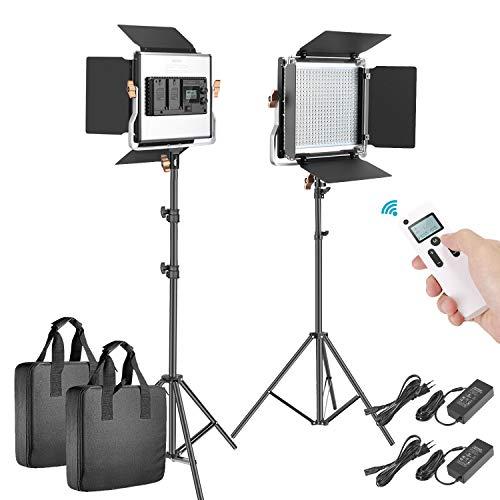 Neewer 2 Packungen Erweiterte 2,4 G 480 LED Video Licht Kit Beleuchtung Fotografie LED Panel zweifarbig verstellbar mit LCD Bildschirm Fernbedienung kabellos Halterung für Fotografie