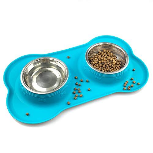 Ciotole per cani e gatti in acciaio inossidabile 2x200ml, 2 ciotole per mangiatoie per animali domestici con base in tappetino silicone antiscivolo,Assicurazione,Durevole (verde)