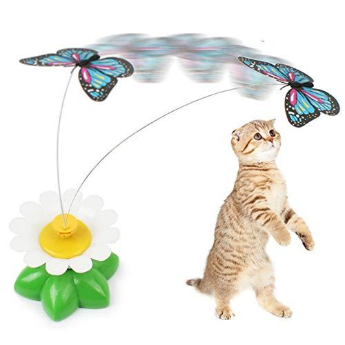 ShunFuET Juguete eléctrico Giratorio para Gatos y pájaros voladores, Flores Divertidas, Hoja Verde, Ejercicio eléctrico, Mariposa, Gatito, Juguete Interactivo Giratorio de 360 Grados para Gatos
