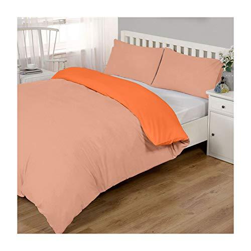 Lions Peach and Orange Reversible Plain Duvet Quilt Cover Set Double With Pillowcase Easy Care Bedding