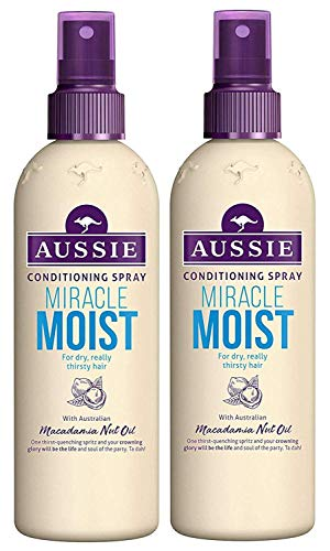 Aussie Miracle Recharge Moisture Leave in Conditioning Spray (2) 250ml Jeder For Dry Or Damaged Hair
