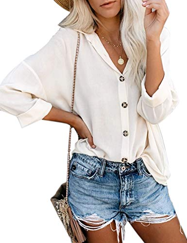 Blooming Jelly Womens Long Sleeve Button Down Shirt Collared V Neck Blouse Roll Up Sleeve Pocket Casual Tops - White - 14 UK L