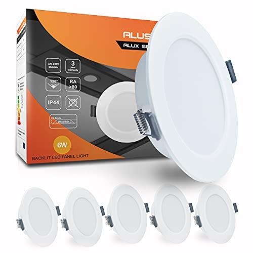 ALUSSO 6 x 6W LED Einbaustrahler Flach IP44 Rund Panel Einbauleuchten Kaltweiß 6400K Dia 118mm Lochmass 95-100mm Einbautiefe 25.5mm