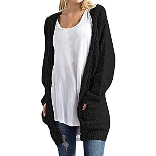 Dosoop 2020 Winter Long Sleeve Black Knit Autumn Winter Cardigans Sweater Coat Jacket Top T-Shirt Blouse