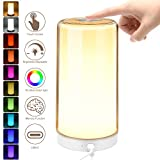 Table Lamp LED Touch Bedside Lamps with Stepless Dimmable 2800-6500K Warm to White Light & 16 Million Color Changing RGB, SUPERDANNY Memory Function Night Lights for Bedroom, Living Room, Study Desk