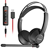 BINNUNE USB Headset with Microphone for Computer Laptop Zoom Conference Call Center, PC Office Wired Stereo Headphones Noise Cancelling Boom Mic