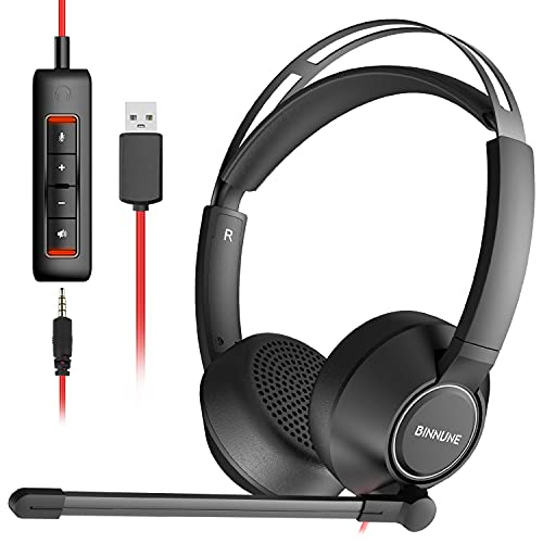 BINNUNE USB Cuffie con Microfono per PC Mac Smartphone Tablet, Cuffie Call Center da 3,5 mm per Skype Zoom MS Team