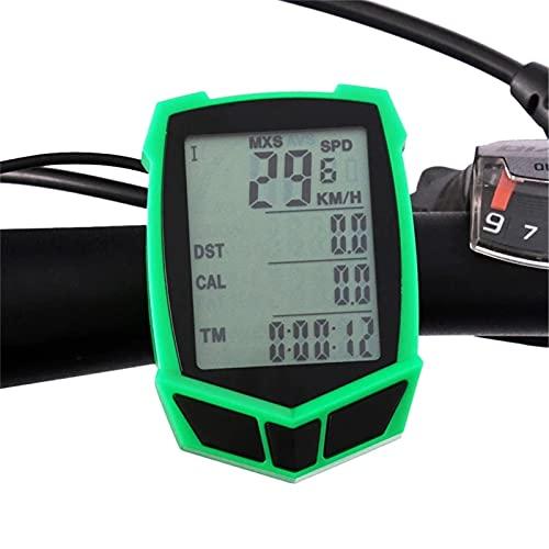 YYDM Contachilometri Impermeabile per Biciclette, Computer Bicycle, 20 Tipi di Funzioni per Visualizzare I Dati di Guida, Schermo LCD Retroilluminato, Facile da Installare,Verde,Wired