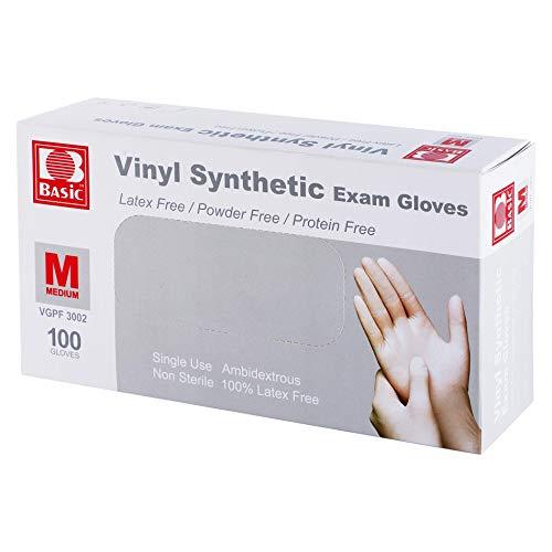 Disposable Medical Clear Vinyl Exam Gloves Industrial Gloves - Latex-Free & Powder-Free 100PCS - Medium
