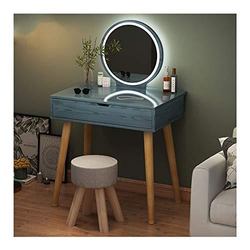 MYAOU Kinderschminktisch mit Vanity Chair LED-Leuchten Spiegelschminktische für Mädchen Ankleidezimmer Schlafzimmermöbel Set Abnehmbare Tischplatte