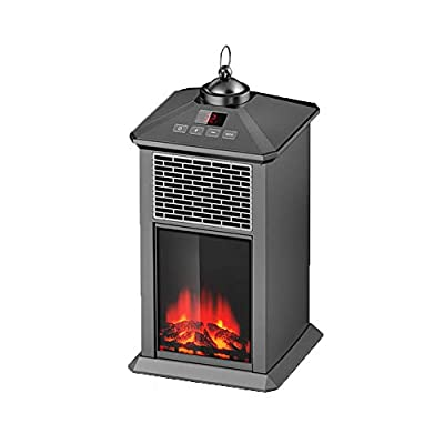ZSCKJ Patio Heaters Automatic Constant Temperature, Outdoor Heater with Realistic Flame and Safe Electric Heater (Black)