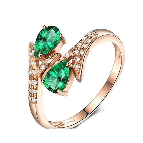 Aeici Anillo Oro rosa 18k, Bisuteria Mujer Anillos Esmeralda Diamante 0.6ct, Pera, Talla 15