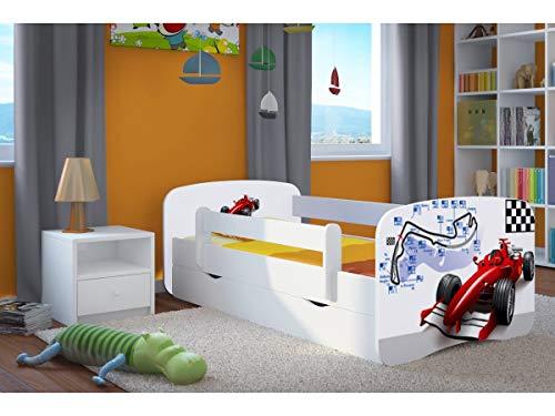 Cama infantil completa 70x140 80x160 80x180 barreras con somier y Cajón gratis para niñas niños Cama individual Blanco - Fórmula - 160x80
