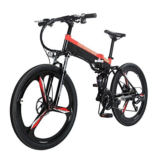 BAHAOMI Bicicleta Eléctrica E-Bike Profesional 27 Velocidades con Rueda De Aleación De Magnesio 26' Bicicleta De Montaña Eléctrica Plegable para Adultos Freno De Disco Delantero Y Trasero