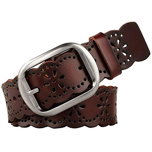 JASGOOD Women's Hollow Flower Genuine Cowhide Leather Belt With Alloy Buckle needs dark brown and a size Waist Size 26-30 Inch