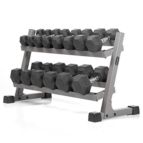 XMark's 380 lb Dumbbell Set and Heavy Duty Dumbbell Rack, 10 to 50 lb Hex Dumbbell Weight Set (7 Pair) with 2 Tier Storage Rack, Dumbbells and Dumbbell Storage Rack