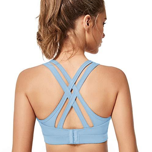 Yvette Sport BH Starker Halt Gepolstert Gekreuzt Rücken Große Brüste Lauf Fitness Yoga Bra, Blau, XL