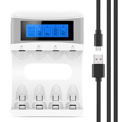 Tycipy Batterie Akku Ladegerät für NI-MH/NI-CD AA/AAA Wiederaufladbare Batterien 4-Bay AA/AAA 2000mAh 5V mit LCD Bildschirm Weiß