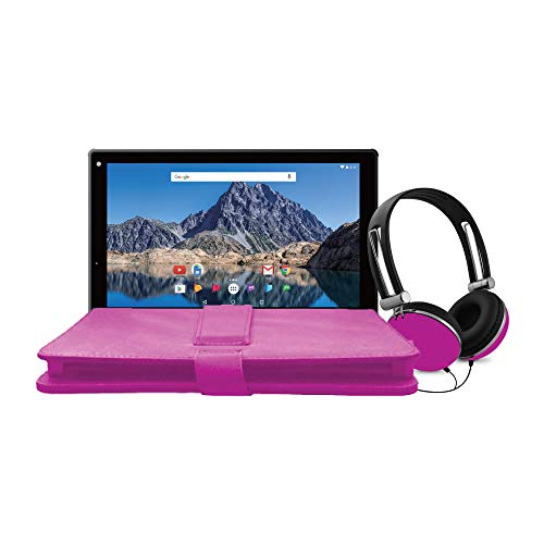 Ematic 10-Inch Android 7.1 (Nougat), Quad-Core 16GB Tablet with Folio Case and Headphones, Pink