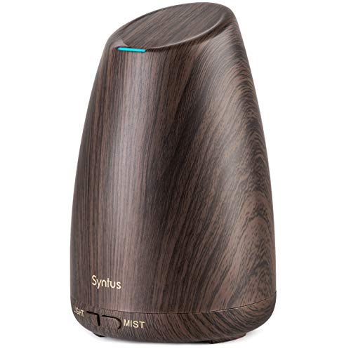 Syntus 150ML Essential Oil Diffuser Ultrasonic Aromatherapy Dark Wood Grain Diffusers with Adjustable Mist Mode and Waterless Auto Shut-Off for Home Office
