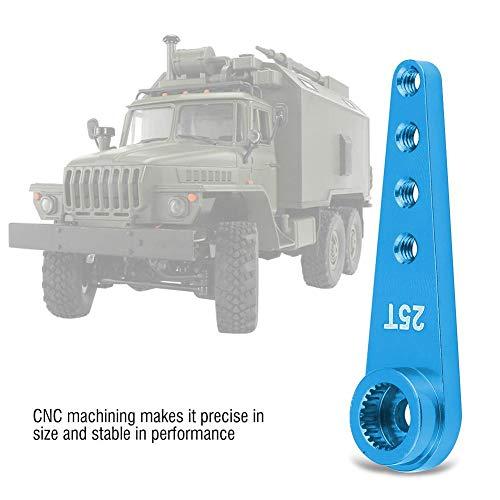 Dilwe RC Auto Servoarm, CNC-Bearbeitung Aluminiumlegierung 25T Servoarm für WPL 1627 Fernbedienung LKW Zubehörteile( Blau)