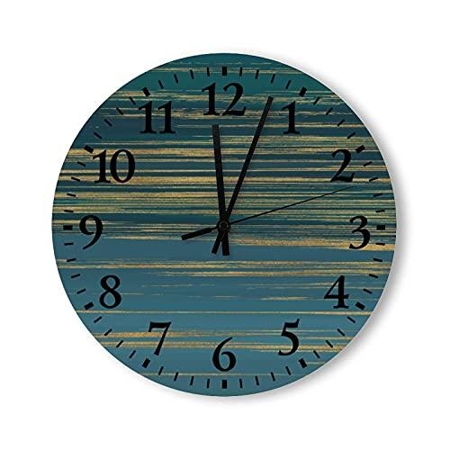 Reloj de pared de madera funciona con pilas, 15 pulgadas, estilo vintage para el hogar, no se cosque, pintura verde y dorado, para decoración de sala de estar para la cocina para el dormitorio