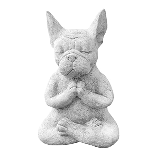 Resin Meditation Dog Statue Yoga Pose Sitting French Bulldog Animal Figurine Prayer Collectible Garden Sculptures Decor garden sculptures & statues solar