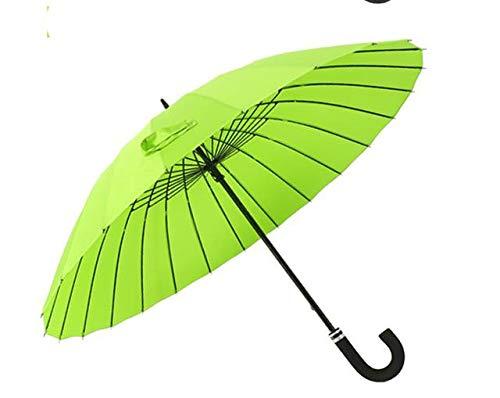 Paraguas de mango largo de doble lluvia de gran tamaño, paraguas de mujer, marco de fibra de vidrio resistente al viento de calidad para hombre, verde