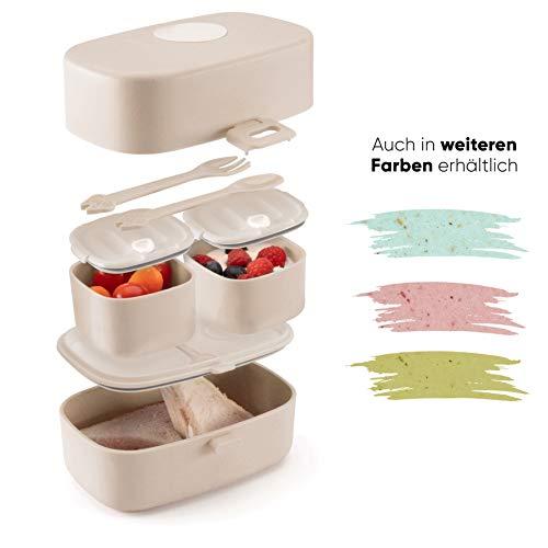 Ecolina ♻ Nachhaltige Lunchbox für Kinder - 3 integrierte praktische Dosen - Extra kinderfreundliche Bento Box - Perfekt für Unterwegs (Beige)