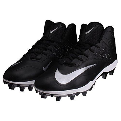 Nike Zoom Code Elite 3/4 TD Football Cleats (16 M US, Black/Metallic Silver)