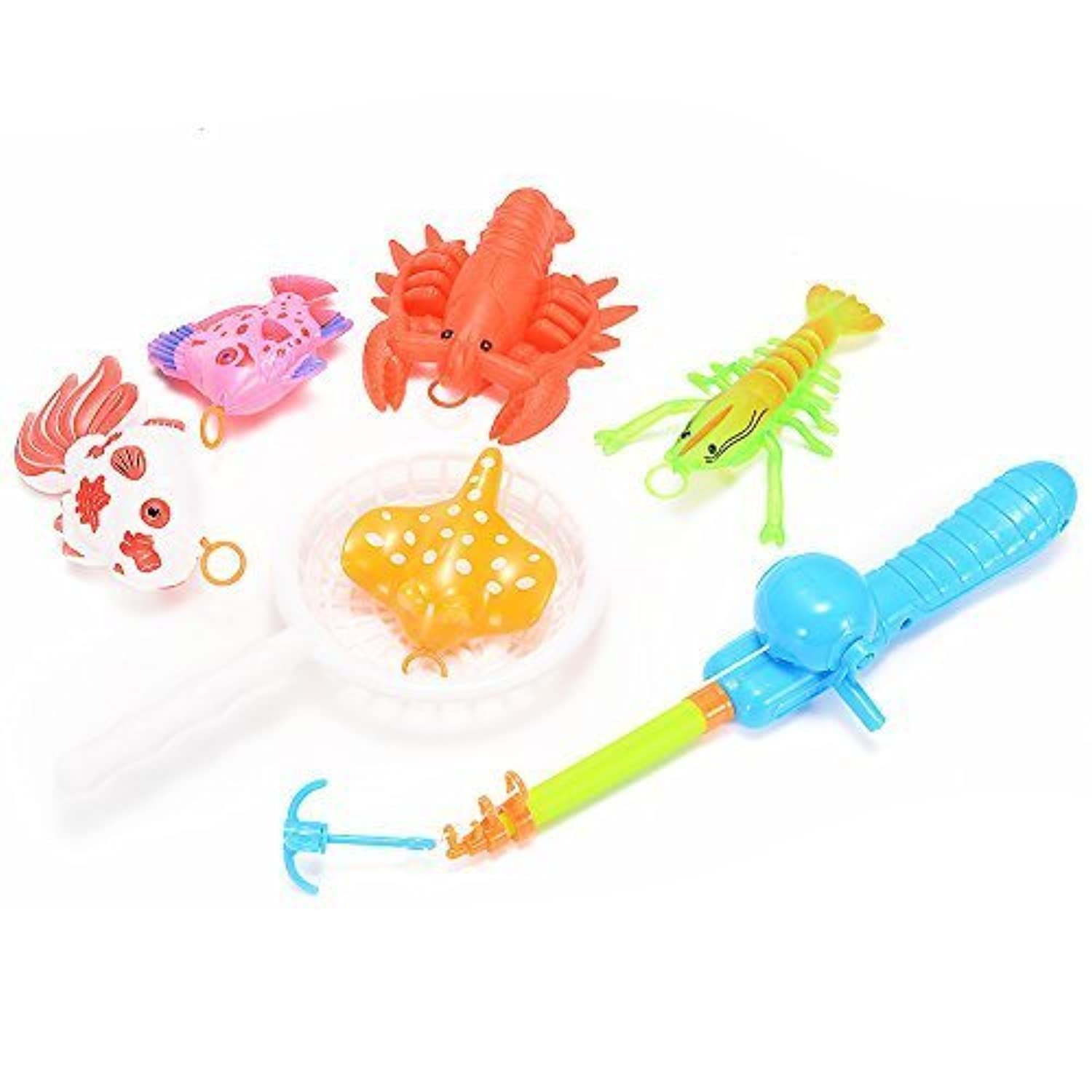 Emorefun Hook Fishing Toy Playset Various Fish and Crab Model Pretend Play Fun Bath Toy Basic Educational Development Table Game Birthday Gift Toy for KidsBaby Toddlers [並行輸入品]