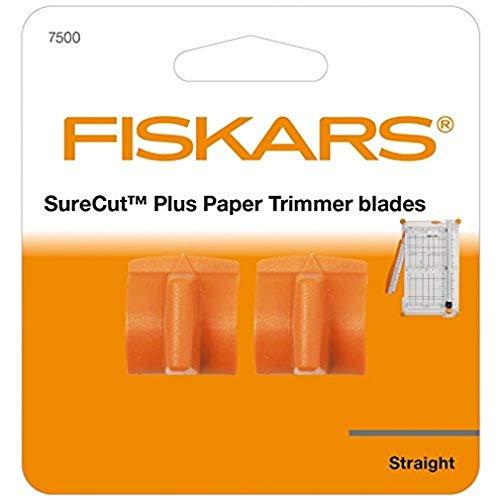 Fiskars Ersatzklingen für Papierschneidemaschine SureCut Plus, 2 Stück, Für gerade Schnitte, SureCut Plus, Orange, 1020506
