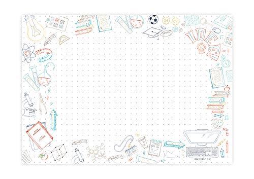 Friendly Fox Back2School Schreibtischunterlage Papier - XXL Notizblock - A2 Block aus Papier zum Abreißen - Mal- und Schreibunterlage - Schreibtischunterlage Kinder Mädchen Jungen