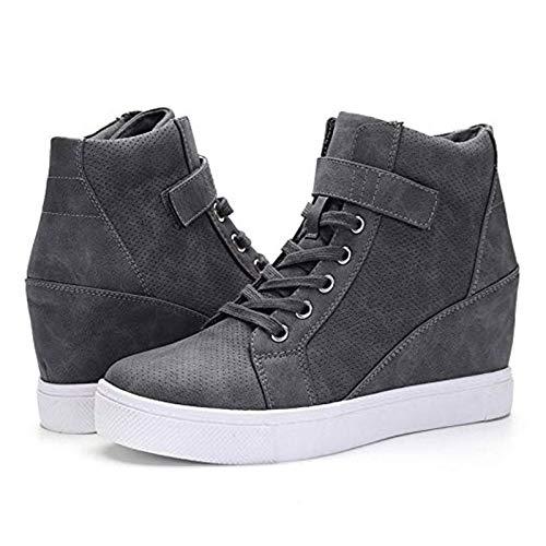 QKFON Damskie modne trampki, na co dzień koturny trampki sznurowane haczyk pętelka wysoki top krótkie buty na jesień zimę
