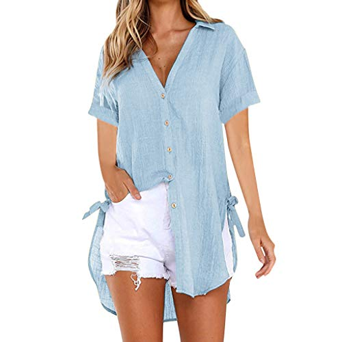 Womens Loose Button Long Shirt Kleid Baumwolle Damen Casual Tops T-Shirt Bluse Carmenshirt Tanktops Rollkragenshirt Häkeltop Outdoor Trägershirt Tuniken Männer Bodybluse M Bekleidung Damen Sommer
