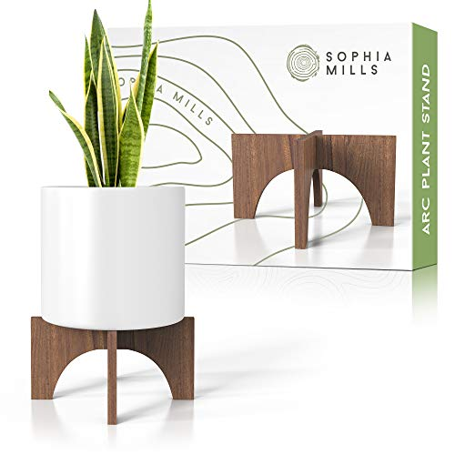 Plant Stand Mid Century Wood - Wooden Stool Riser For Indoor Plant, Natural Acacia Planter Base - Fits 8 To 12-Inch Diameter - Modern Minimalist Pot Holder Stands (Pot Not Included) - Flat Arch Design