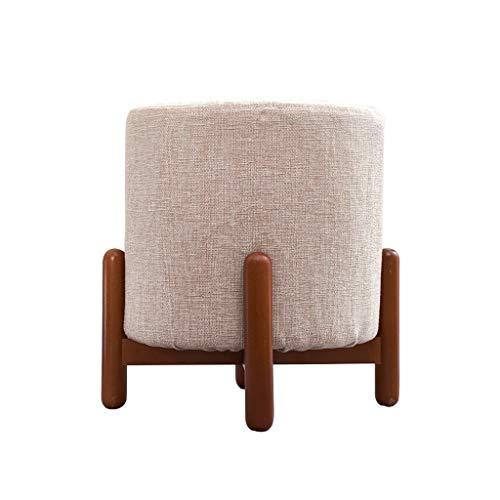 Zitzak, stoel, rond, zitkussen, kruk, stof, linnen, wasbaar, kleine kruk, bank met 4 houten poten