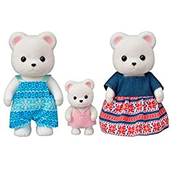 Polar Bear Family posable collectable figures Three piece set: Father, mother and baby Dressed in removable fabric clothing Stimulates imaginative role-playing by children Suitable for ages three years and above