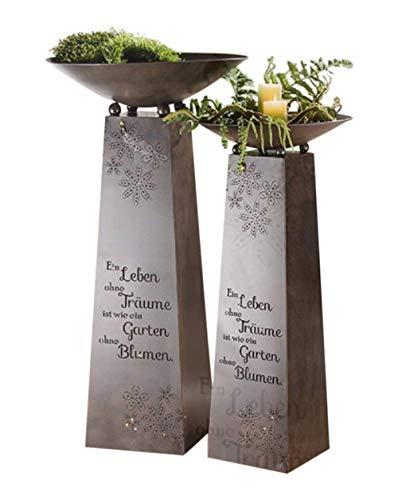 Gilde Metall Schalenständer EIN Leben - Garten - Skulptur - Säule Stele - 102 x 50cm - Dunkelbraun