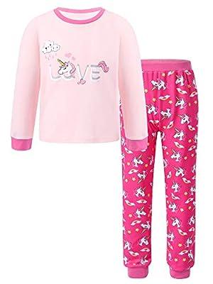 Freebily Niña Pijamas Unicornios de Manga Larga de 2 Piezas Conjuntos de Pijamas de Unicornios Ropa de Dormir de Algodón Invierno Rosa 13-14 años
