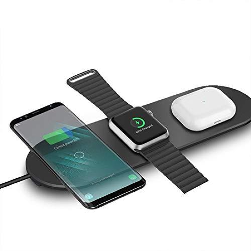 Horen - Cargador inalámbrico 3 en 1 Qi para Apple Watch Iphone, apto para Airpods de carga rápida, oficina en casa y viajes
