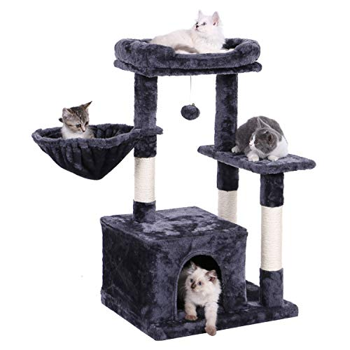 BEWISHOME Cat Tree Cat Tower with Sisal Scratching Posts and Plush Perch Cat Condo Stand Furniture Kitten Activity Center Cozy Basket MMJ11H